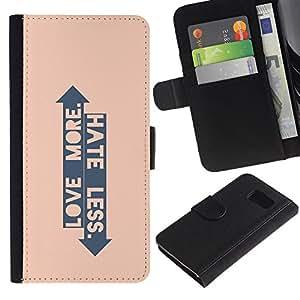 Planetar® Modelo colorido cuero carpeta tirón caso cubierta piel Holster Funda protección Para Samsung Galaxy S6 / SM-G920 ( Peach Arrow Love Hate Up Down Quote )