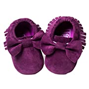 Voberry Baby Boys Girls Tassel Bow Soft Sole PU Leather Loafers Moccasin Sneakers ( 6~12 Month, Purple)