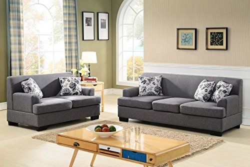 US Pride Furniture Allen Collection Modern Fabric Upholstered 2 Piece Living Room SetWith Sofa and Loveseat Gray