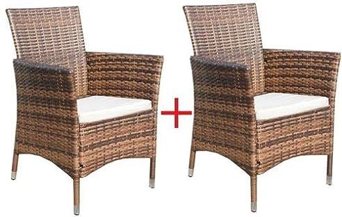 Amazon.de: 2 x Poly-Rattan Sessel Stuhl Stühle Gartenmöbel ...