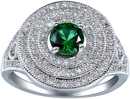 Woo2u Concentric Circles Green Crystal 925 Sterling Silver Plated Ring