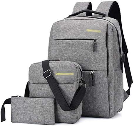 MUDEREK 3Pcs pack Men Business Simple Style Backpack Shoulder Bag Wallet Set Casual Daypack
