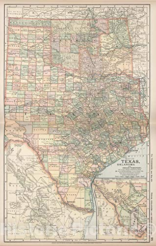 Historic Map | Map of Texas, Oklahoma and Indian Territory, 1891 | Vintage Wall Art | 44in x 69in ()