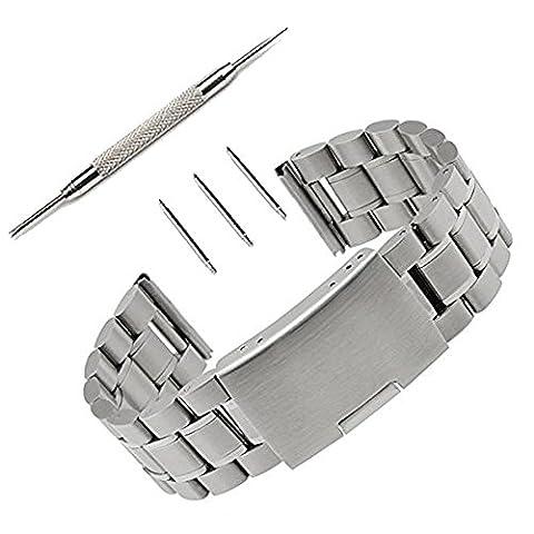 22mm Stainless Steel Watch Band Strap Pinhen Mesh Watch Band For 16MM 18MM 20MM 22MM 24MM 26MM Smart Watch (22mm Steel (22mm Mesh Watchband)
