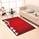 Sophiehome skid Slip rubber back antibacterial  Area Rug christian christmas scene on red background illustration 324278123 Home Decorative