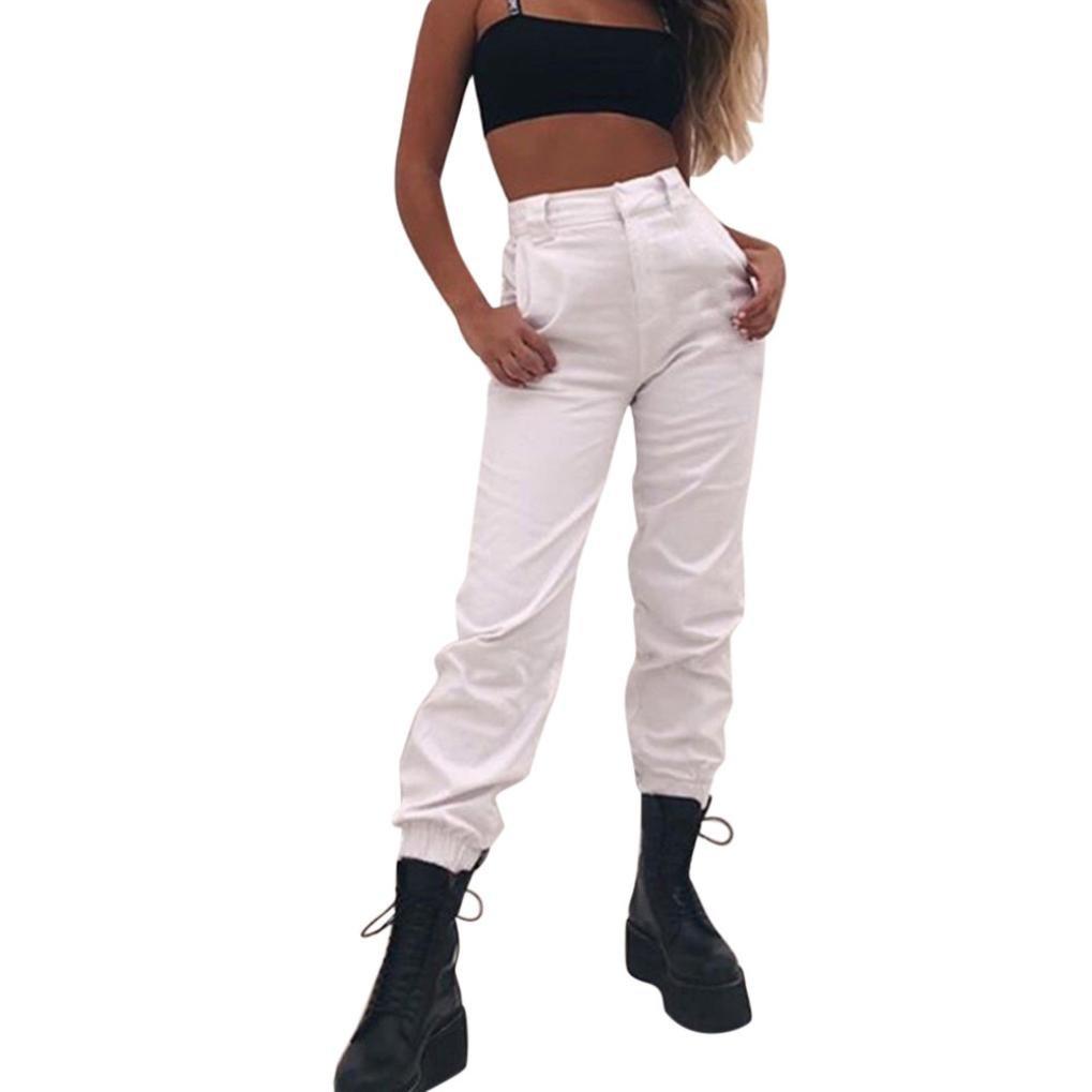 Vovotrade Para mujer Harem holgado Hip Hop Dance Jogging Sweat Pants Slacks Pantalones,Mujeres Deportes Gym Pantalones de Entrenamiento Pantalones de Fitness Gimnasio de Correr Pantalones (White, L)