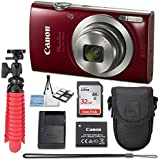 Canon PowerShot ELPH 180 20 MP Digital Camera (Red) with 8x Optical Zoom Fixed Lens + 32GB Memory Card + Flexible Spider Tripod + Travel Camera Case + Point & Shoot Camera Accessories Bundle