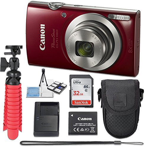 Canon PowerShot ELPH 180 20 MP Digital Camera (Red) with 8x Optical Zoom Fixed Lens + 32GB Memory Card + Flexible Spider Tripod + Travel Camera Case + Point & Shoot Camera Accessories Bundle by Canon