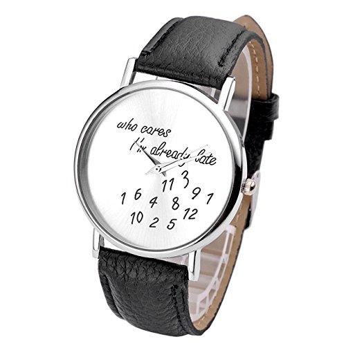 jsdde Relojes, Vintage Mujer Mode Who Cares I m Already Late Grabado Illusion