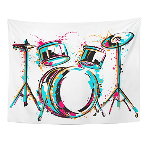 TOMPOP Tapestry Sketch Drum Kit Splashes in Watercolor Colorful Music Reggae Home Decor Wall Hanging for Living Room Bedroom Dorm 60x80 Inches