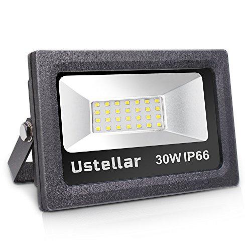 Ustellar LED Floodlight 30W, IP66 Waterproof Outside Flood Lights Outdoor...