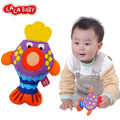 LALABABY Big Mouth Fish Teether Rattles Cloth Early