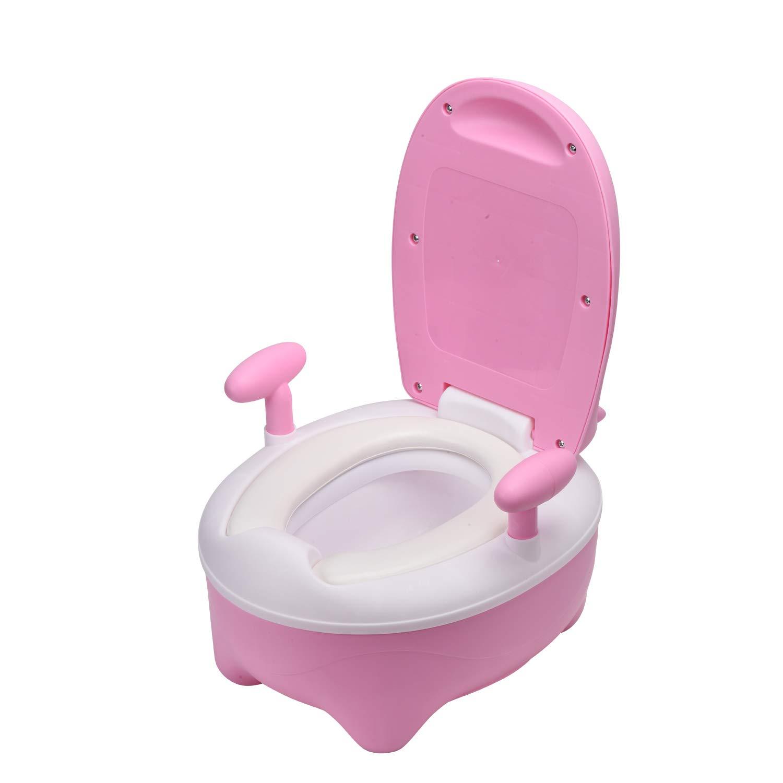 Glenmore T/öpfchen f/ür Kinder Baby WC Babytopf Potty Toilette mit Deckel Gepolstertes Junge Blau das Vieh