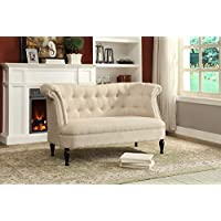 Wholesale Interiors Erica Victorian Style Linen Fabric Upholstered Button-Tufted 2-Seater Loveseat, Beige