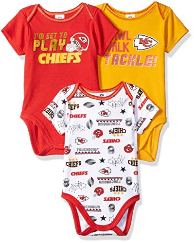 NFL Kansas City Chiefs Unisex-Baby 3-Pack Short Sleeve Bodysuits, Red, 3-6 Months ()