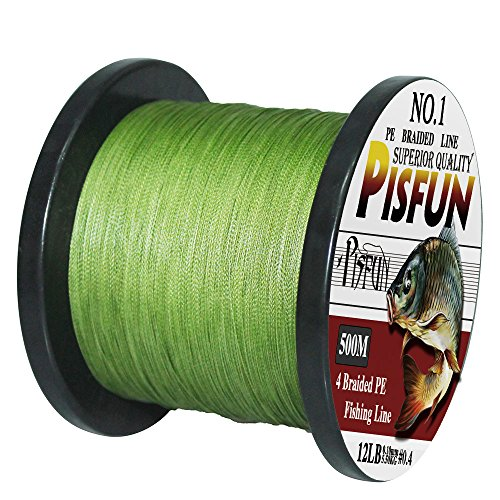 Pisfun SuperPower 500M Braided Saltwater Fishing Line 4 Strands 14-80LB Advanced Superline Green Orange Grey Yellow White Blue Color