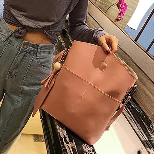 Shoulder Leather Black Simple Crossbody Bag Brown Women 3Pcs PU xwC74In