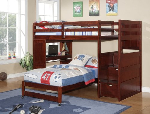 Twin over Twin Modular Stairway Loft Bed with Desk