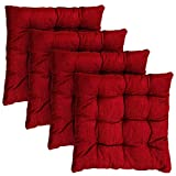 Fine Weaves Solid Chair Cushion Pack of 4 (Maroon, Cotton)