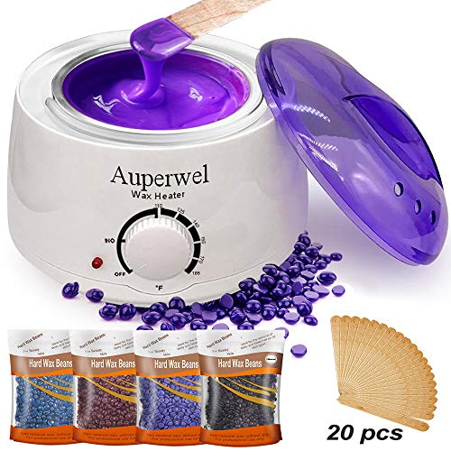 Auperwel Wax Warmer Waxing Kit - Hair Removal Bikini Waxing Kit Brazilian at home Wax Kit for women with 4 Hard Wax Beans 20 Waxing Spatulas (Hard Wax Kit)