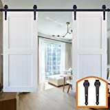 HomeDeco Hardware Black Arrow Design Indoor Wall Rustic Sliding Wood Barn Door Hardware Flat Tracks Set for Double Doors (15FT Double Doors Kit)