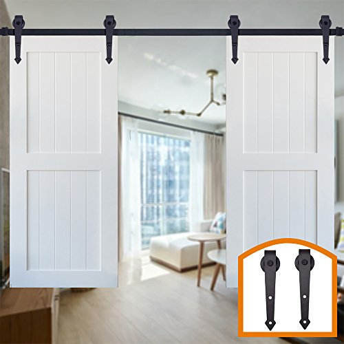 HomeDeco Hardware Black Arrow Design Indoor Wall Rustic Sliding Wood Barn Door Hardware Flat Tracks Set for Double Doors (15FT Double Doors Kit) by HomeDeco Hardware