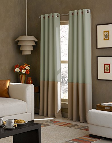 Curtainworks Kendall Color Block Grommet Curtain Panel, 95 inch, Peacock