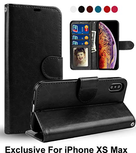 Pelotek; iPhone Xs Max Black Wallet Case, iPhone Xs Max Luxury Wallet Case Premium Quality Leather Elegant Flip Case   with Strap Credit Card/ID Money Holder Slots   Strong Durable Inner Case (Black