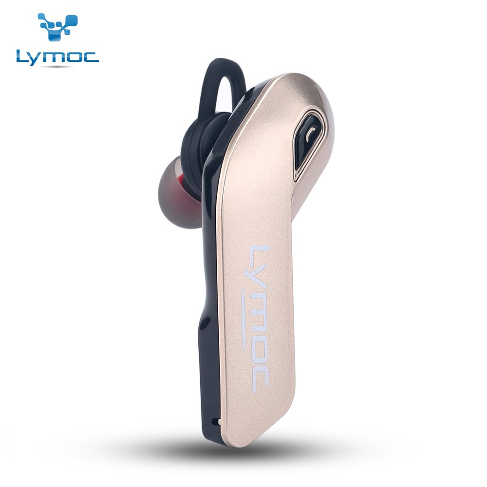 LYMOC Bluetooth Headset,Wireless Hands-free Earpiece CSR4.1 Working 6hours Stereo Noise Cancellation with Double HD Microphones for Business/Office/Driving/Workout (Gold)