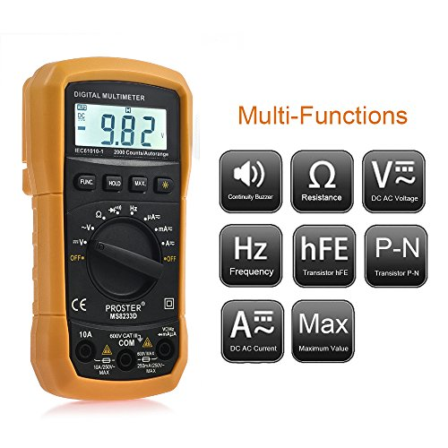 AC DC Voltage DC Current Resistance Diodes Transistor Audible Continuity Tester with Backlit LCD Pocket Digital Multimeter Auto Ranging Digital Multimeters Digital Multi Tester