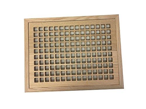 10 Inch x 14 Inch White Oak Hardwood Vent Floor Register Flush Mount with Frame, Eggcrate Style, Unfinished