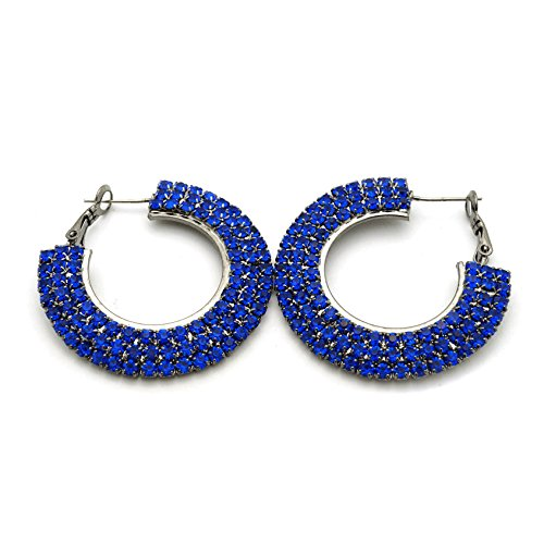 Teri's Boutique Pave Triple Row Pop Colors Gray Rhinestone Women Fashion Jewelry Hoop Earrings (Blue) Blue Rhinestone Hoop