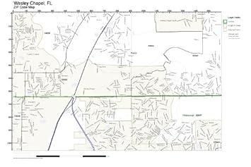 Amazoncom Zip Code Wall Map Of Wesley Chapel Fl Zip Code Map