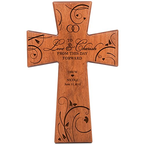 Personalized Wedding Gifts for Couples Custom laser Engraved for Bride and Groom Gift ideas Wedding Wall Cross To Love & Cherish From This Day Forward Made of cherry wood in USA (Wedding Gift Cross)