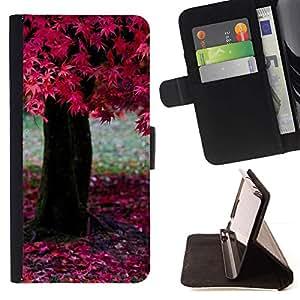 Momo Phone Case / Flip Funda de Cuero Case Cover - Naturaleza ?rbol rosado - Samsung Galaxy A3