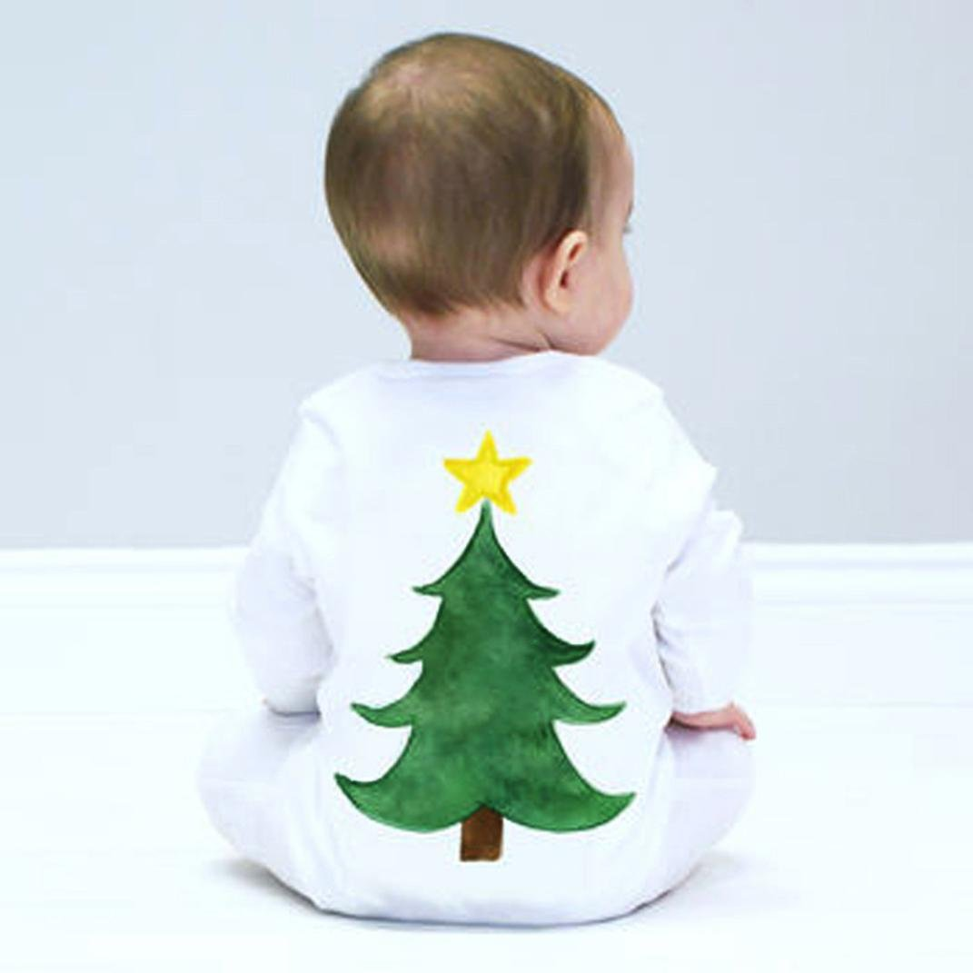 For 0-24 Months Baby,DIGOOD Toddler Baby Girl Boy Christmas Tree Long Sleeve Romper Jumpsuit Pajamas Outfits