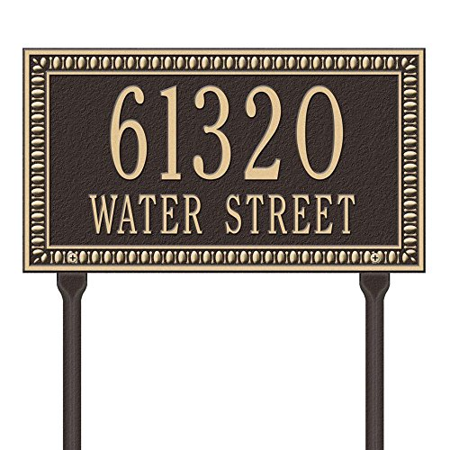 Whitehall Products Egg and Dart Rectangular Bronze/Gold Standard Lawn Two Line Address Plaque
