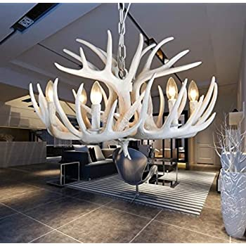 EFFORTINC Resin Antler Chandelier White Living Room Dining Easy Installation 6 Lights