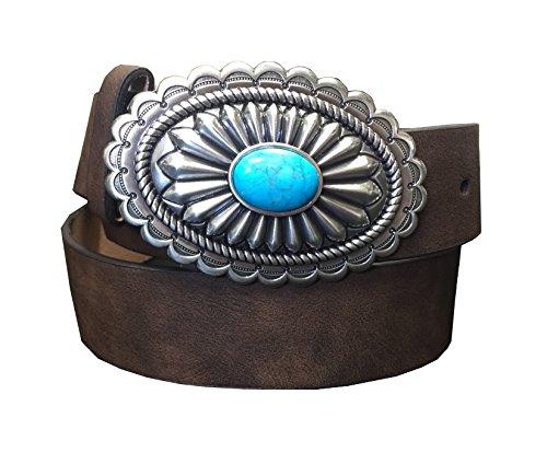 Fancy Concho (Ariat Women's Faux Turquoise Oval Buckle Belt Brown)