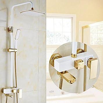 Mangeoo El estilo europeo de cobre dorado, ducha WC, ducha, grifo booster boquilla, ducha fría y caliente, baño,White Cube: Amazon.es: Bricolaje y herramientas