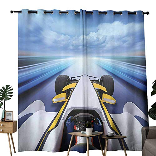 (duommhome Cars Decor Collection Insulated Curtains Overhead Route Perspective from Open Cockpit Racing Car Driving at High Speed Go Illustration Energy Saving Provides a Modern Look W72 xL84 Multi)