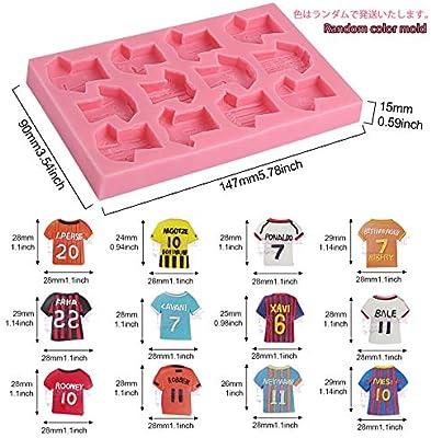 molde de silicona Forma camisa de Fútbol para fondant - Sugarcraft Herramienta de decoracion de torta - para glaseado de torta jabon velas pasta de chicle PMC 14.8*9*1.4cm: Amazon.es: Hogar