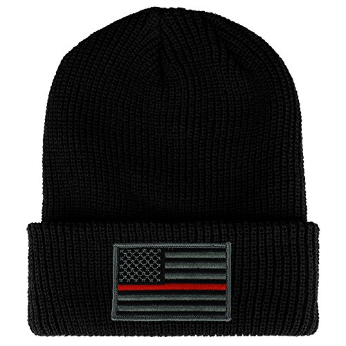 (Thin RED Line American Flag Embroidered Patch Ribbed Cuffed Knit Beanie - BLACK)