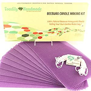 """Make Your Own Beeswax Candle Kit - Includes 10 Full Size 100% Beeswax Honeycomb Sheets in PURPLE and Approx. 6 Yards (18 Feet) of Cotton Wick. Each Beeswax Sheet Measures Approx. 8"""" x 16 1/4""""."""