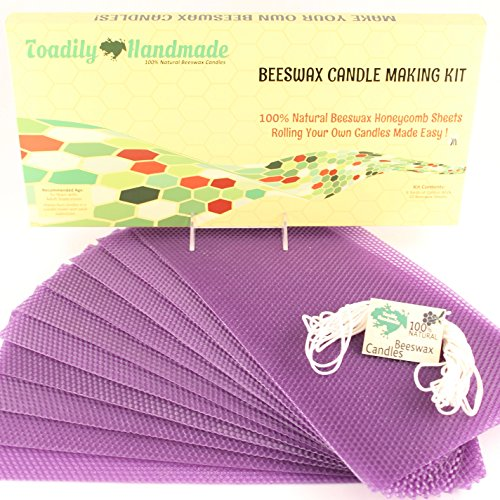 Make Your Own Beeswax Candle Kit - Includes 10 Full Size 100% Beeswax Honeycomb Sheets in PURPLE and Approx. 6 Yards (18 Feet) of Cotton Wick. Each Beeswax Sheet Measures - Your Own Shades Make