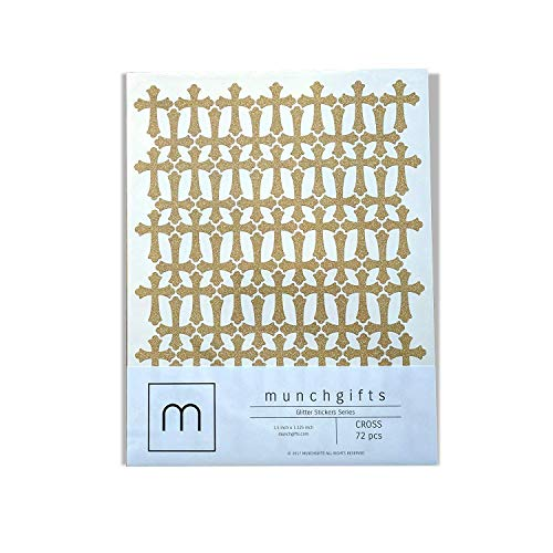 Non Shed Cross Glitter Stickers Set (1.5 inch - 72 pcs, Gold)
