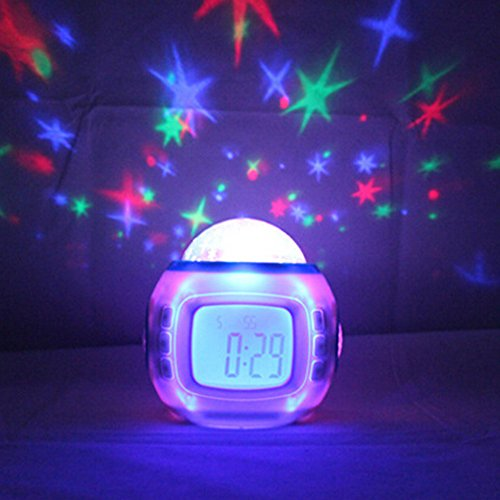(KAKA(TM Alarm Clock, LED Colorful Dreamy Starry Star Moon Time Flash Light Projection with Music Clock)