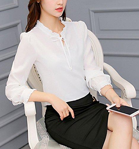 JackenLOVE Longues Chemisiers Casual Fashion Haut Automne Tops Chemises Blouse et Manches Printemps Shirt T Tops Femme Blanc Mousseline Sw6rSB