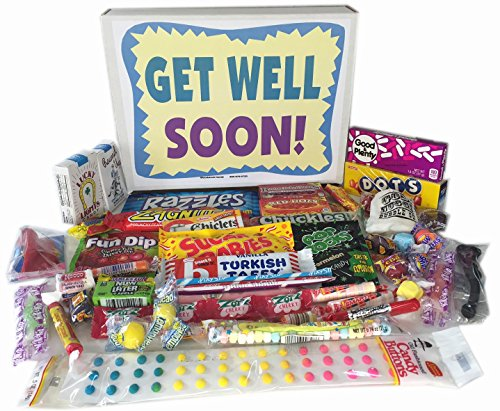 Woodstock Candy Get Well Soon Gift Box - Feel Better Care Package Wishes for Women, Men, Children