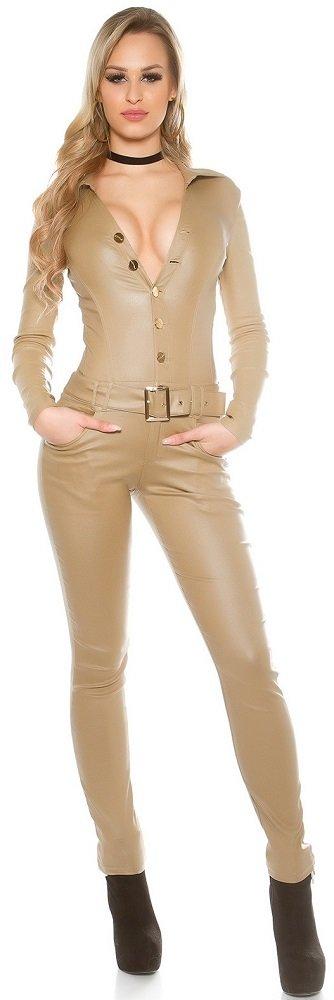 KouCla Lederlook Overall Jumpsuit - Langarm Wetlook Catsuit Schwarz Beige Gr. XS - XL